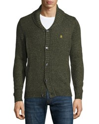 Penguin Tweed Button Front Cardigan Sweater Blue