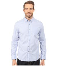 Kenneth Cole Sportswear Long Sleeve One Pocket Button Down Collar Dot Print Polar Sky Combo Men's Long Sleeve Button Up Blue