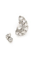 Ben Amun Asymmetrical Statement Crystal Earrings Silver Clear