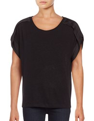 Lord And Taylor Pleated Dolman Sleeve Top Black
