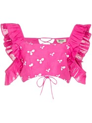 All Things Mochi Coney Printed Ruffle Crop Top Pink