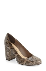 Bella Vita Women's 'Nara' Block Heel Pump Natural Snake Print Leather