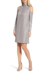 Maggy London Women's Cold Shoulder Pleated Shift Dress Blush Grey