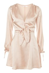 Oh My Love Satin Long Sleeve Dress By Champagne
