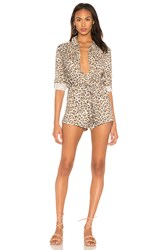 Chaser Snap Front Collared Romper Brown