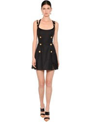 Versace Wool Blend And Lace Mini Dress Black