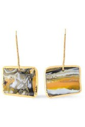 Missoni Woman Burnished Gold Tone Printed Resin Earrings Gold