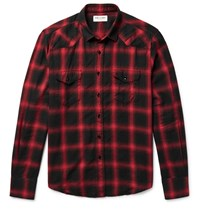 Saint Laurent Slim Fit Checked Cotton Blend Flannel Western Shirt Red