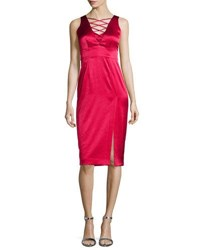 Nanette Lepore Sleeveless Lace Up Satin Dress W Slit Scarlet