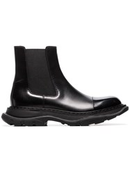 Alexander Mcqueen Chunky Soled Leather Chelsea Boots Black