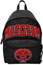 Moschino Black Embroidered Backpack