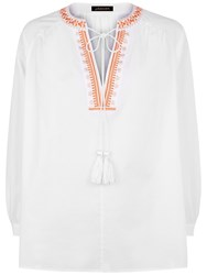 Jaeger Embroidery Boho Blouse White Orange