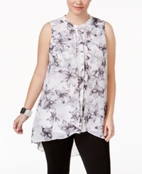 Alfani Plus Size Printed High Low Tunic Only At Macy's White Black Large Lilies