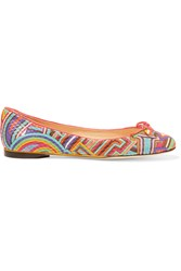 Emilio Pucci Printed Textured Leather Ballet Flats Purple