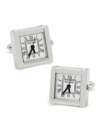 Square Watch Movement Cuff Links Silver Cufflinks