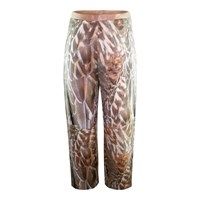 Claire Andrew Feather Print Cropped Trouser Black Gold Brown