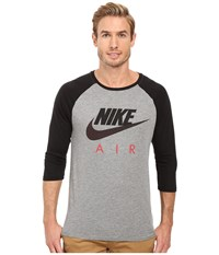 Nike Air Raglan Tee Carbon Heather Black University Red Men's Clothing Gray