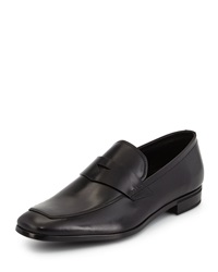 Prada Leather Dress Penny Loafer Black