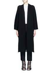 Helmut Lang Wide Sleeve Cashmere Cotton Long Cardigan Black