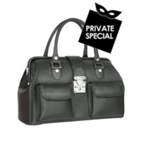 L.A.P.A. Front Pocket Calf Leather Doctor Style Handbag Black