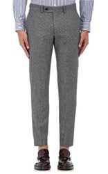 Brooklyn Tailors Men's Micro Houndstooth Wool Flannel Trousers Grey Black Dark Grey Grey Black Dark Grey