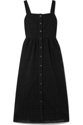 J.Crew Coletta Broderie Anglaise Cotton Voile Midi Dress Black