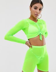 Jaded London Exclusive Booty Short And Crop Co Ord In Neon Lime Green
