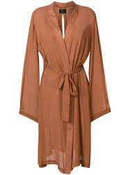 Lost And Found Ria Dunn Open Front Duster Coat Brown