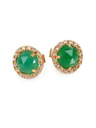 Mija Green Jade And White Sapphire Mini Button Earrings Gold Green