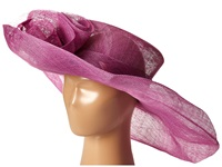 Scala Sinamay Split Brim With Flower And Feather Trim Orchid Caps Purple