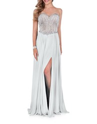 Glamour By Terani Couture Beaded Floor Sweeping Dress Silver