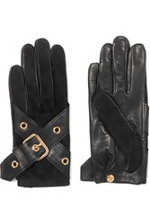 Causse Gantier Ophelie Leather Buckle Trimmed Suede Gloves Black