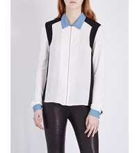 The Kooples Panelled Woven Shirt White