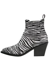 Just Cavalli Cowboy Biker Boots White Black