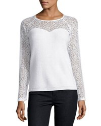 Tahari By Arthur S. Levine Textured Sweater W Lace Detail Ivory