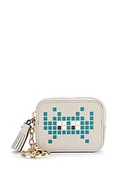 Anya Hindmarch Space Invaders Robot Leather Coin Purse Grey