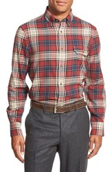 Men's Big And Tall Nordstrom Regular Fit Plaid Flannel Sport Shirt Red Rosewood Grey Opal Plaid