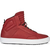Aldo Qelalle Leather High Top Trainers Red