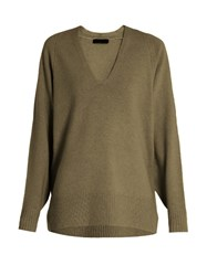 The Row Jabbie Wool And Cashmere Blend Sweater Dark Grey