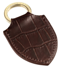 Aspinal Of London Croc Embossed Leather Shield Key Ring Brown