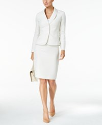 Le Suit Shawl Collar Tweed Skirt Cream