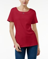 Karen Scott Buckle Trim T Shirt Only At Macy's New Red Amore