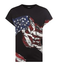Just Cavalli American Flag T Shirt Male Black
