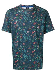 Paul Smith Ps By Floral Print T Shirt Blue
