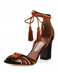 Tabitha Simmons Jamie Knotted Suede Block Heel Sandal Brown Black Brown Black