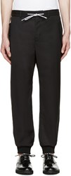 Moschino Black Wool Drawstring Trousers