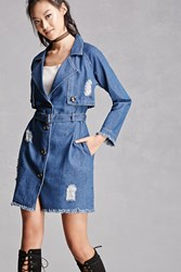 Forever 21 Distressed Denim Trench Coat