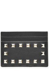 Valentino Leather Rockstud Credit Card Holder Black