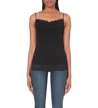 The White Company Lace Trim Stretch Jersey Camisole Black