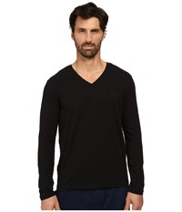 Hugo Boss Long Sleeve Mix And Match V Neck Cotton Stretch Black Men's Clothing